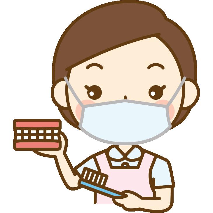 歯の磨き方をアドバイスする歯科衛生士のイラスト
