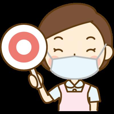マル印を出す歯科衛生士のイラスト