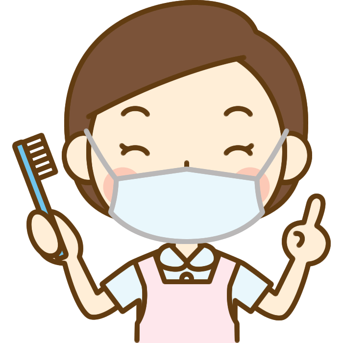 歯ブラシを持った歯科衛生士のイラスト