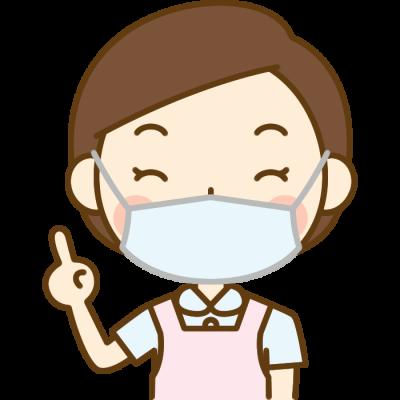 指差しポーズをする歯科衛生士のイラスト