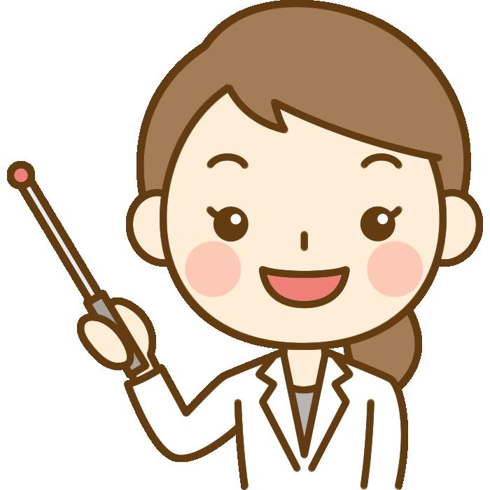 指し棒で説明する女性医師(医者)のイラスト