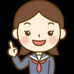 指差しポーズをする女子中学生のイラスト