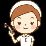注射器を持った看護師(ナース)のイラスト<白の白衣>