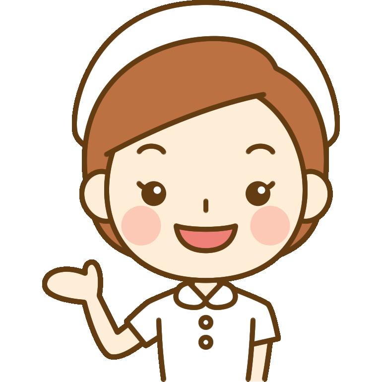 案内をする看護師(ナース)のイラスト<白の白衣>