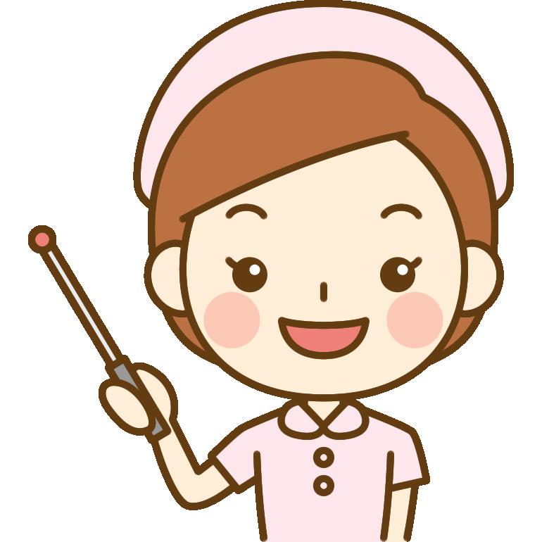 指し棒で説明する看護師のイラスト<ピンクのナース服>