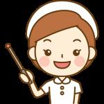 指し棒で説明する看護師(ナース)のイラスト<白の白衣>