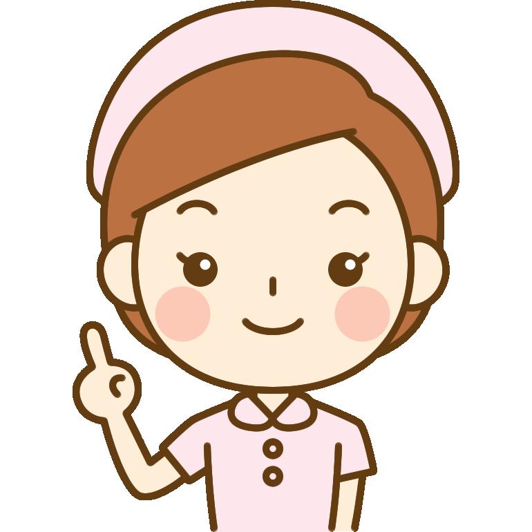 指差しの仕草をする看護師のイラスト<ピンクのナース服>