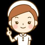 指差しポーズをする看護師(ナース)のイラスト<白の白衣>