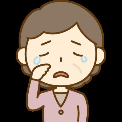 悲しくて泣いているおばさん(中年女性)のイラスト