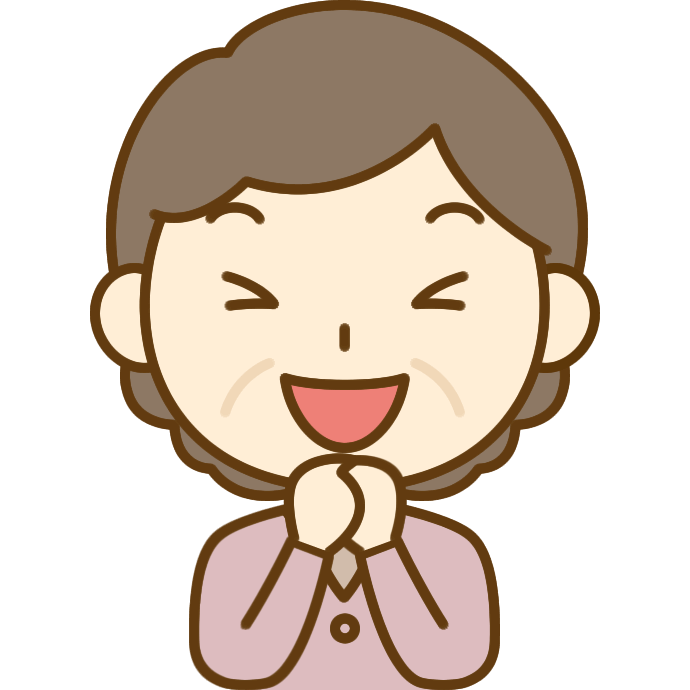 大喜びするおばさん(中年女性)のイラスト