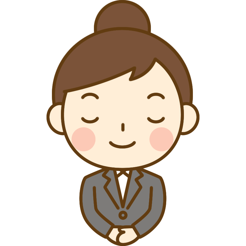 お辞儀をするOL(会社員)のイラスト