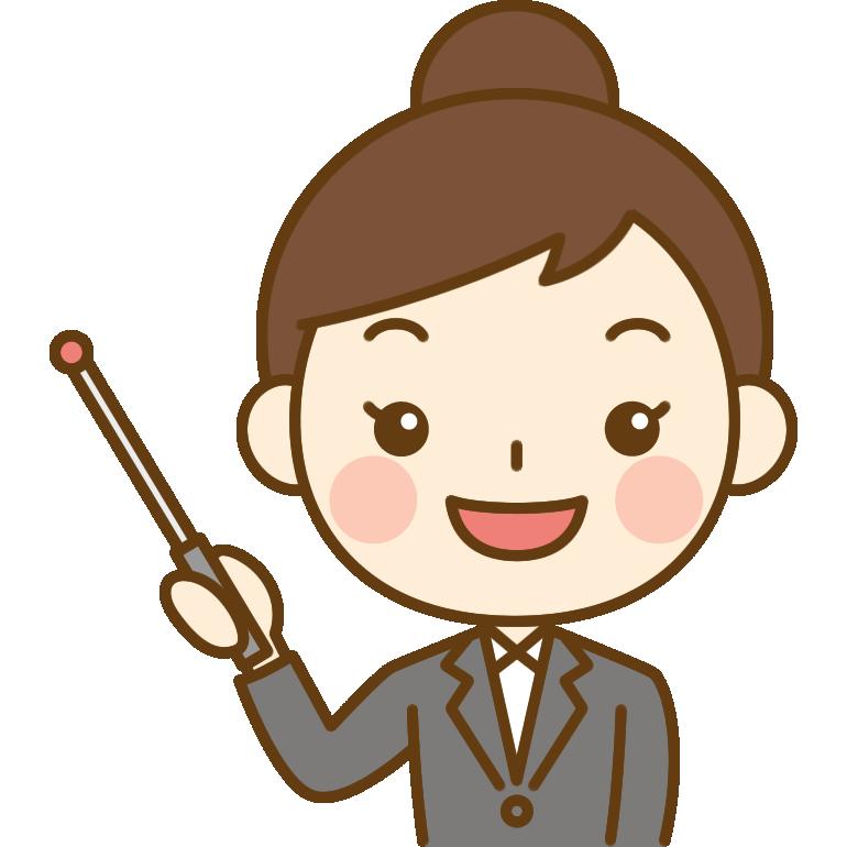 指し棒で説明するOL(会社員)のイラスト