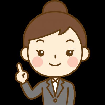 指差しポーズをするOL(会社員)のイラスト