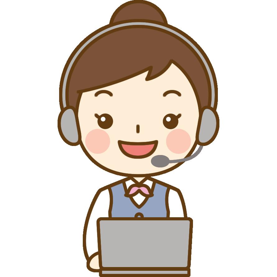 パソコンをするテレフォンオペレーターのイラスト | かわいい女性の