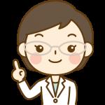 指差しポーズをする薬剤師のイラスト