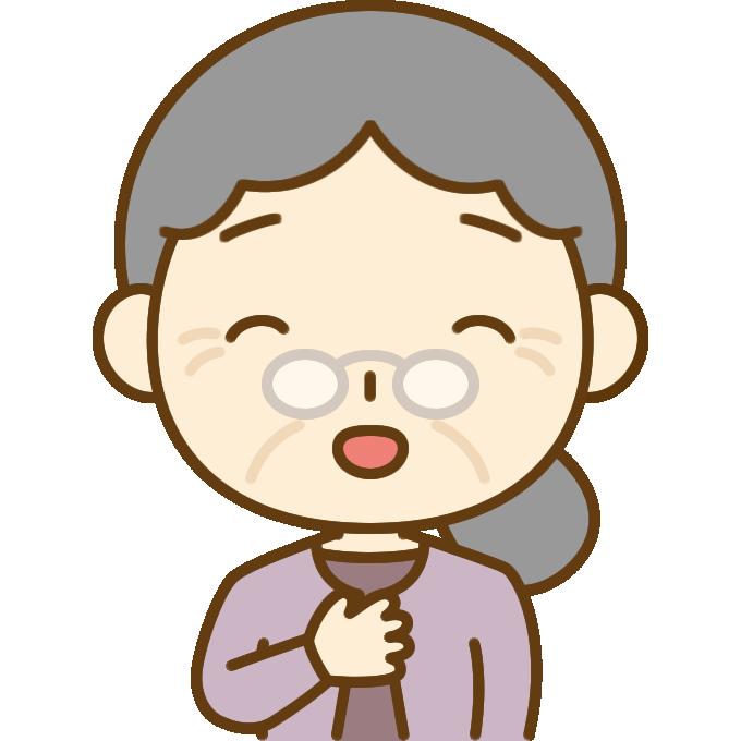 安心するおばあさん(シニア女性)のイラスト