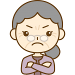 怒っているおばあさん(シニア女性)のイラスト