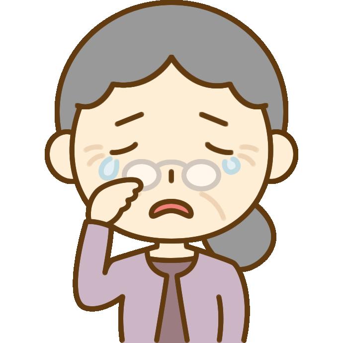 悲しくて泣いているおばあさん(シニア女性)のイラスト