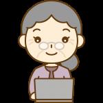 パソコンをするおばあさん(お年寄り・シニア女性)のイラスト