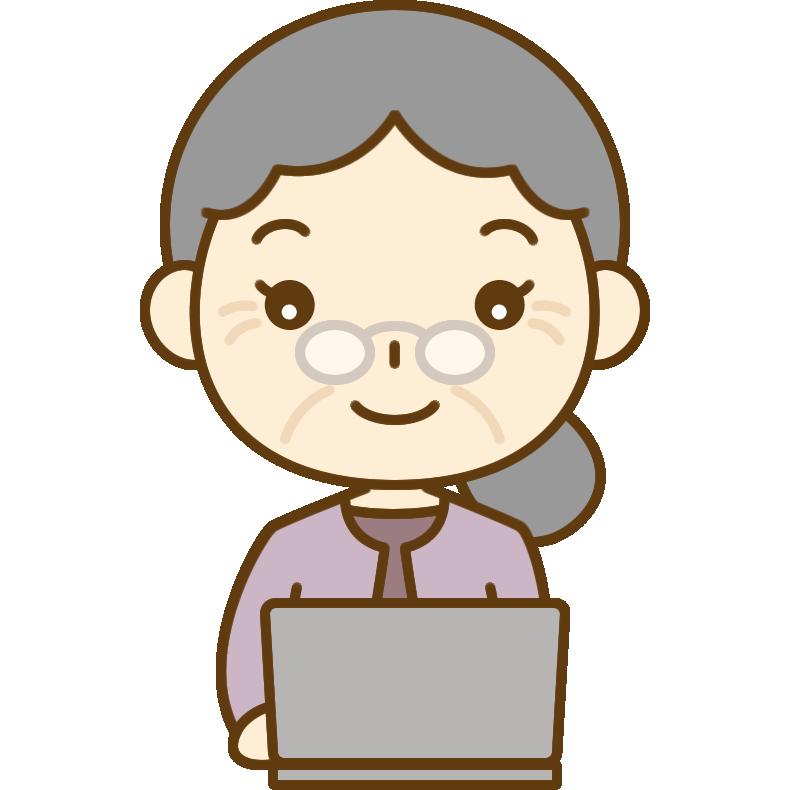 パソコンをするおばあさん(シニア女性)のイラスト