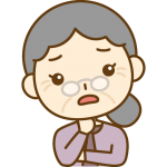 心配するおばあさん(お年寄り・シニア女性)のイラスト