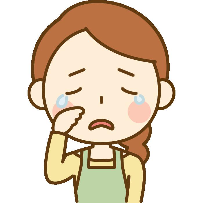 悲しくて泣いている主婦のイラスト