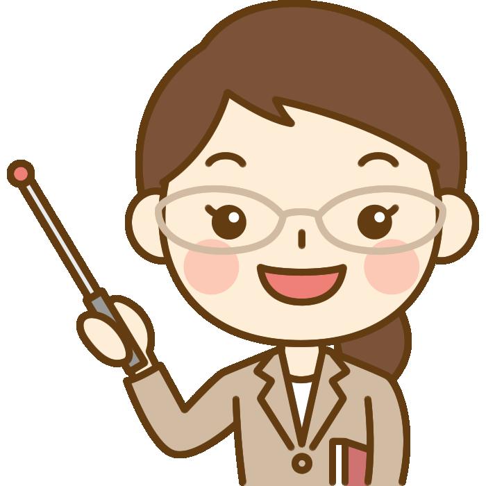 指し棒で説明する先生(教師)のイラスト
