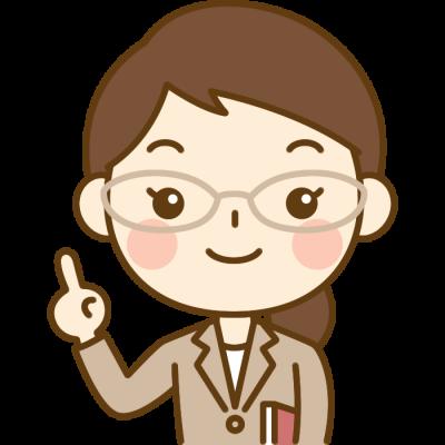 指差しポーズをする先生(教師)のイラスト