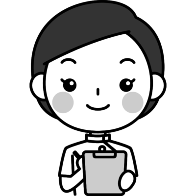 問診をする整体師の白黒(モノクロ)イラスト