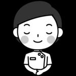 お辞儀をする整体師の白黒(モノクロ)イラスト