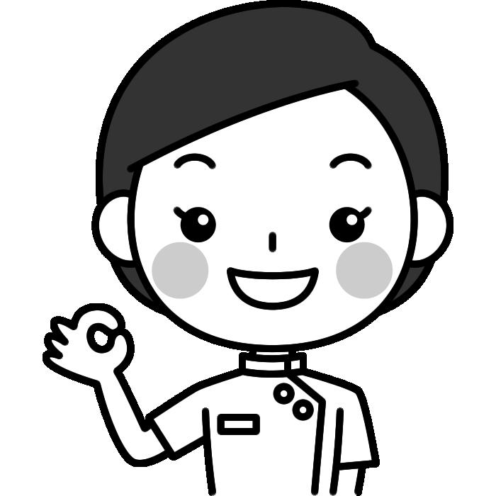 OKポーズをする整体師(鍼灸師)の白黒(モノクロ)イラスト
