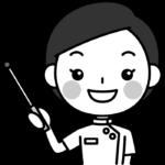 指し棒で説明する整体師の白黒(モノクロ)イラスト