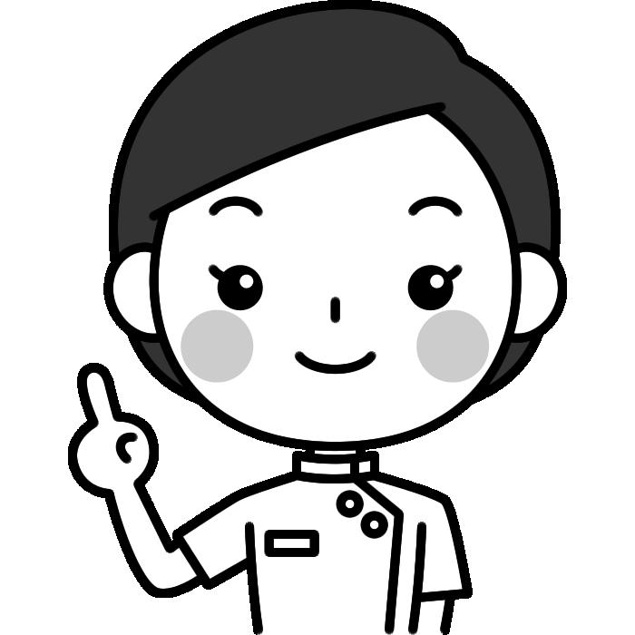 指差しポーズをする整体師(鍼灸師)の白黒(モノクロ)イラスト