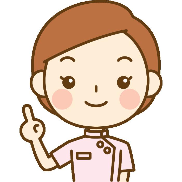 指差しポーズをする整体師のイラスト