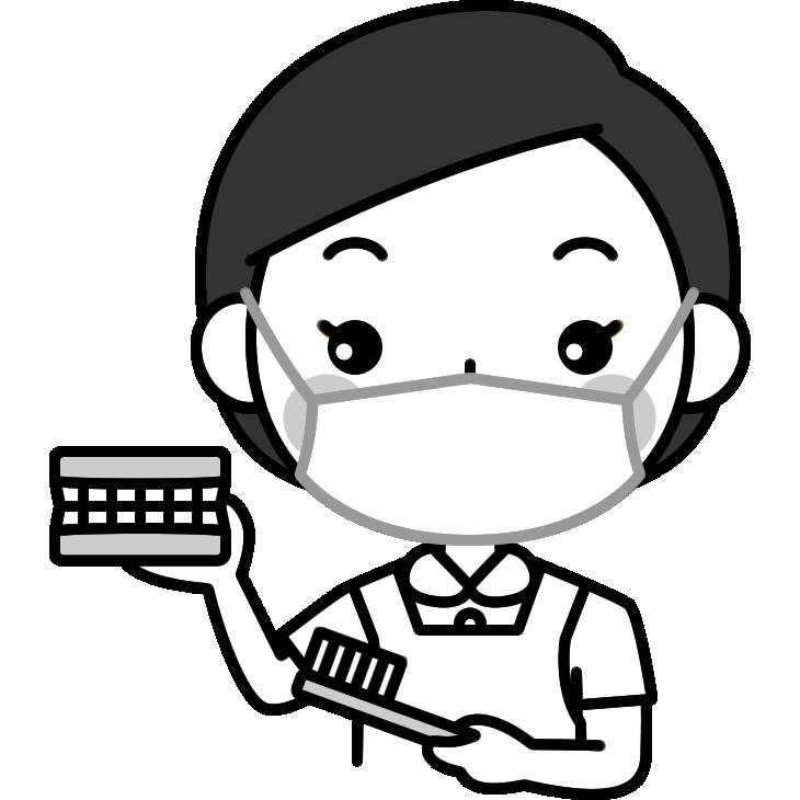 歯の磨き方をアドバイスする歯科衛生士の白黒(モノクロ)イラスト