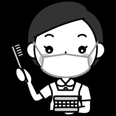 歯磨き指導をする歯科衛生士の白黒(モノクロ)イラスト