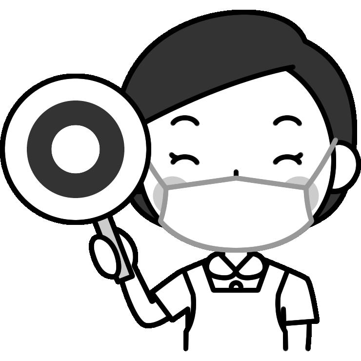 マル印を出す歯科衛生士の白黒(モノクロ)イラスト