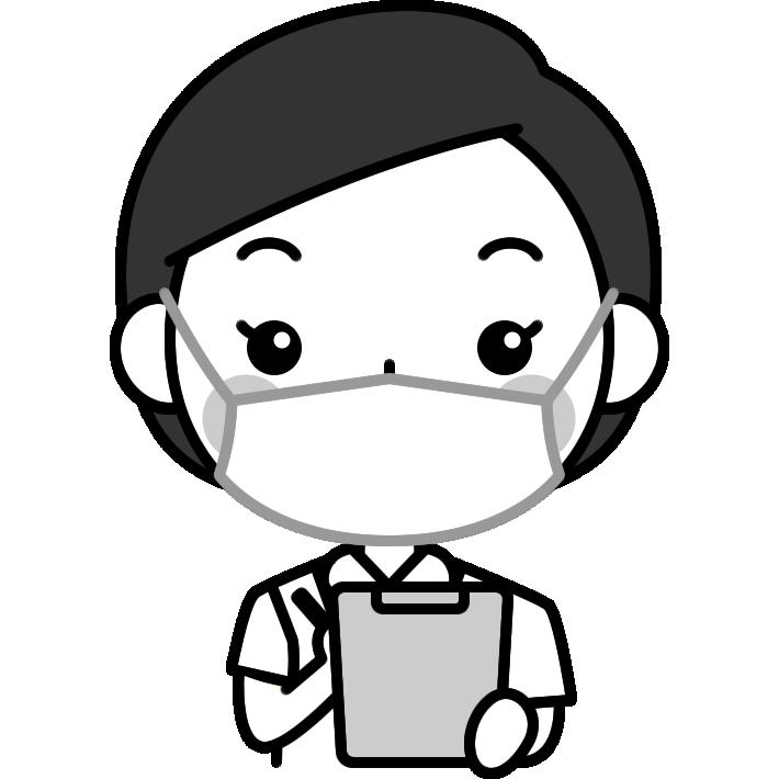 問診をする歯科衛生士の白黒(モノクロ)イラスト