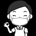 OKポーズをする歯科衛生士の白黒(モノクロ)イラスト