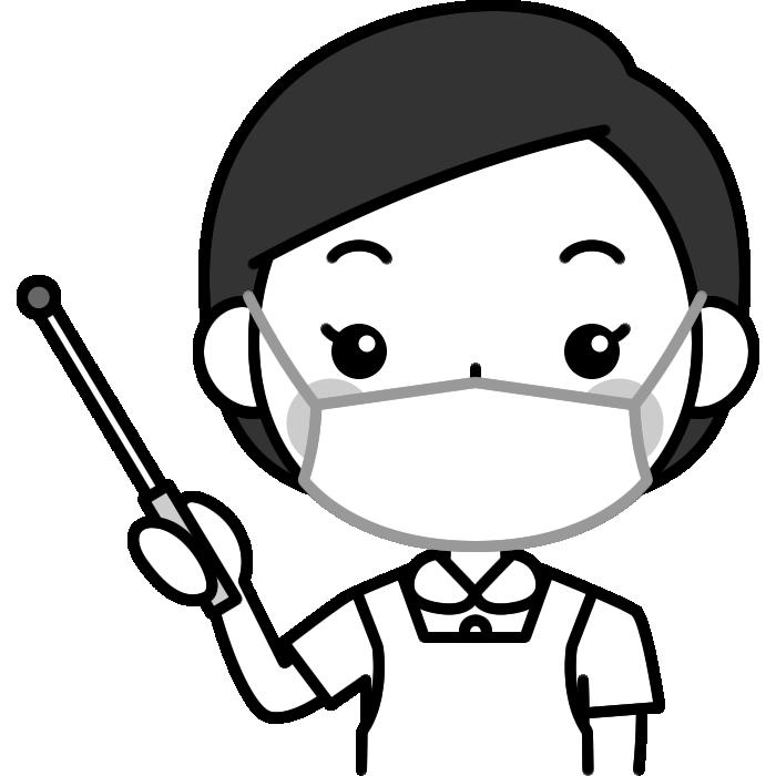 指し棒で説明する歯科衛生士の白黒(モノクロ)イラスト