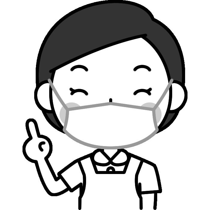 指差しポーズをする歯科衛生士の白黒(モノクロ)イラスト