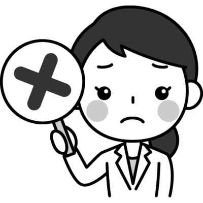 バツ印(不正解)を出す女性医師(医者)の白黒(モノクロ)イラスト