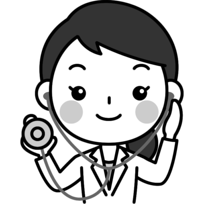 聴診器を持った女性医師(医者)の白黒(モノクロ)イラスト