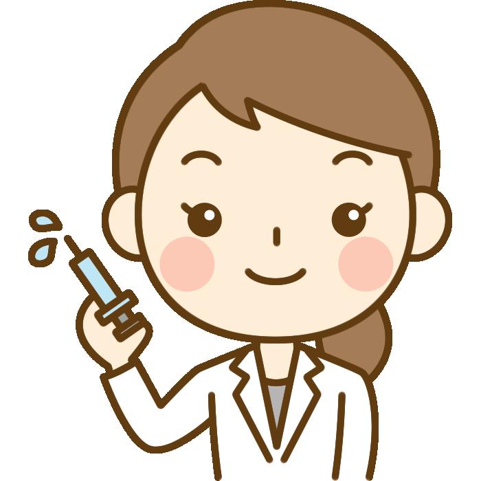 注射器を持った女性医師(医者)のイラスト