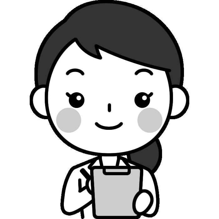 問診をする女性医師(医者)の白黒(モノクロ)イラスト