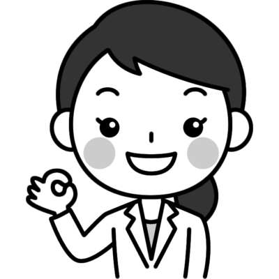 OKサイン(オッケーポーズ)をする女性医師(女医・医者)の白黒(モノクロ)イラスト