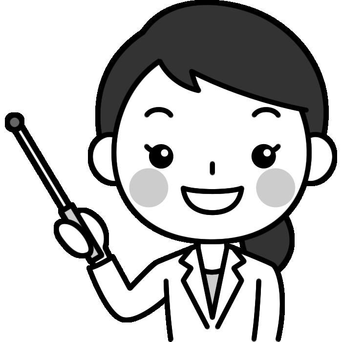 指し棒で説明する女性医師(医者)の白黒(モノクロ)イラスト