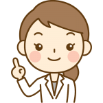 指差しポーズをする女性医師(女医・医者)のイラスト