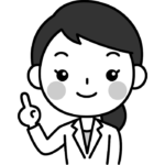 指差しポーズをする女性医師(女医・医者)の白黒(モノクロ)イラスト