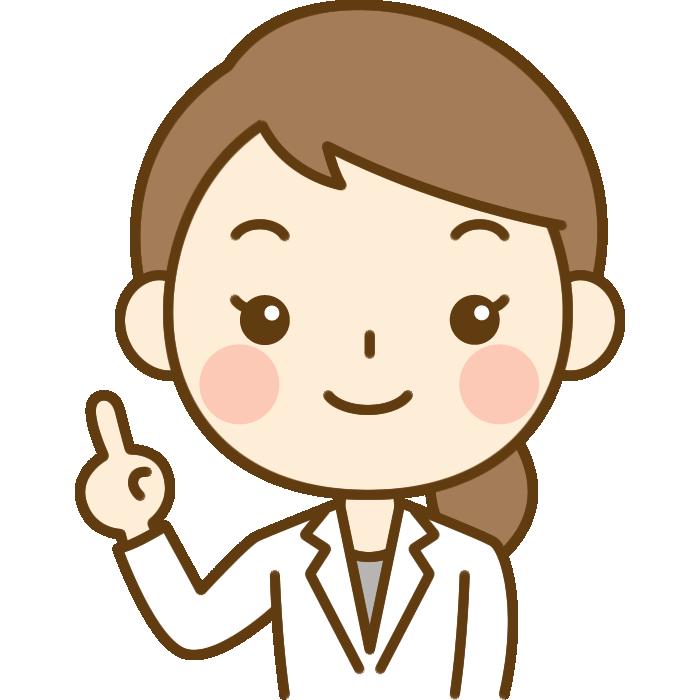 指差しポーズをする女性医師女医医者のイラスト かわいい女性の
